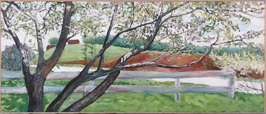 Crab Apple, 60 x 26, 1993, acrylic on canvas