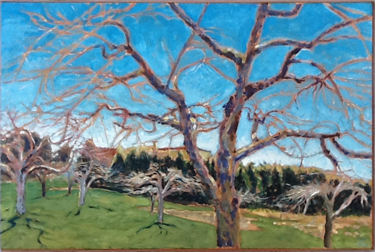 Apple Tree with Blue Sky , 1993, 36 x 24, acrylic on canvas
