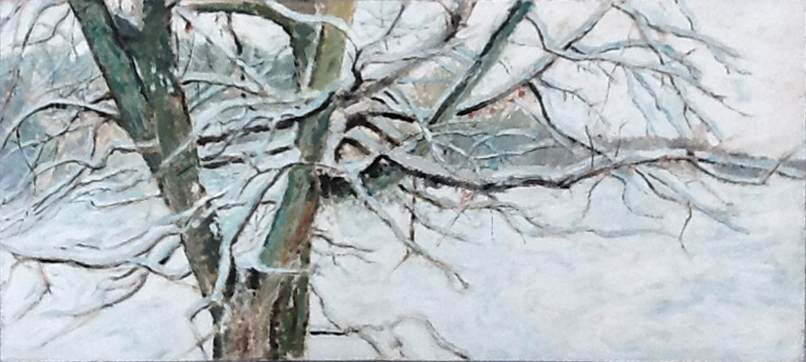 This painting was painted on the front and back of the canvas.  I used to do that when money was tight. Snowy Tree, 1993, 48 x 22, acrylic on canvas State St., 1991, 48 x 22, acrylic on canvas