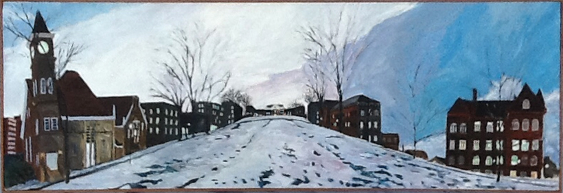 Bascom Hill, 1992, 53 x 17, acrylic on canvas
