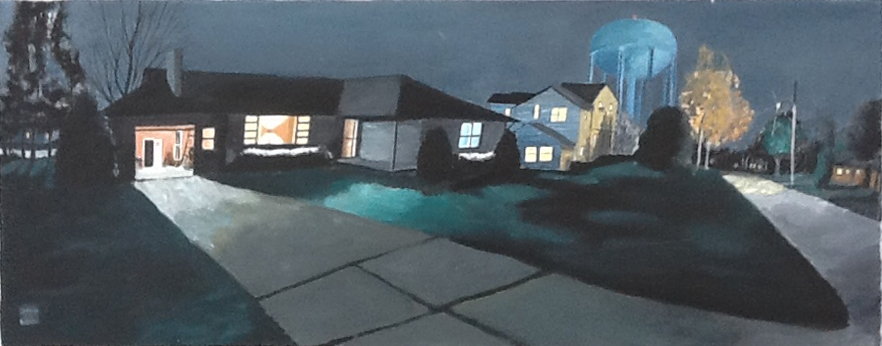 House at Night , 1992, 22 x 56 , acrylic on canvas