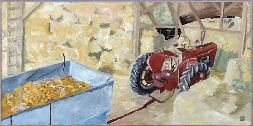 Jerry's Tractor, 56 x 28 1992, Acrylic on canvas