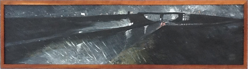 Night road in rain, 48 x 12, acrylic on canvas, 1992