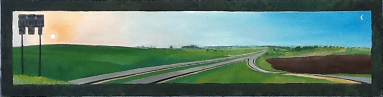 Road with sun and moon, 1992, 48 x 12, acrylic on canvas