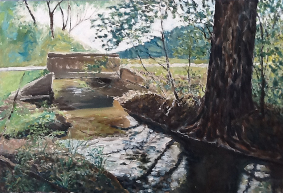 Stream and Bridge 1993, acrylic on canvas, 44 x 28