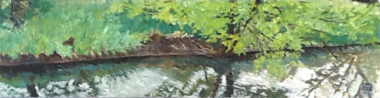 Stream bank, 48 x 12, 1993, acrylic on canvas