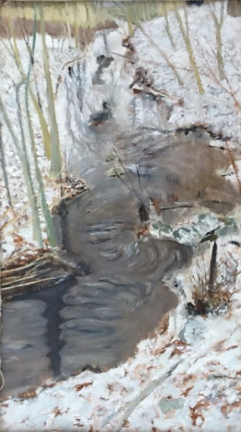 Winter Stream , 1993, 44 x 26 , acrylic on canvas