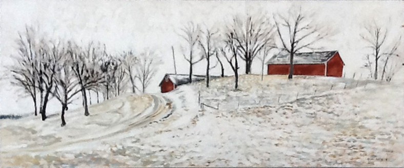 Zentner's Barns, 48 x 20, 1993, acrylic on canvas